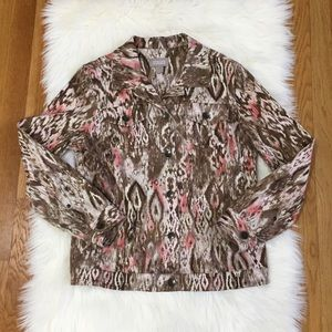 Chico's Abstract Print Denim Style Jacket.